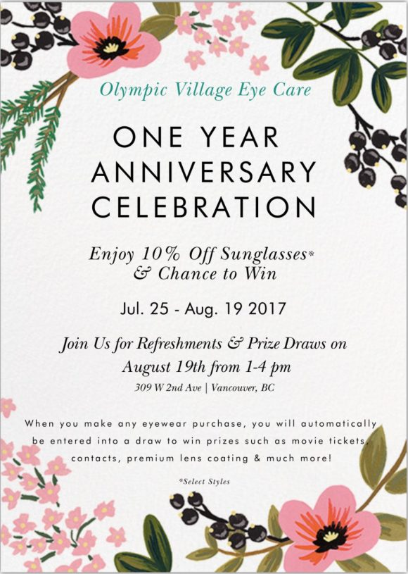 Join us for our one year anniversary celebration olympic village olympic village eye care stopboris Image collections
